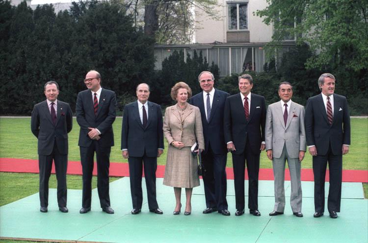 1985 G7 Summit - Delors Craxi Mitterrand Thatcher Kohl Reagan Nakasone Mulroney
